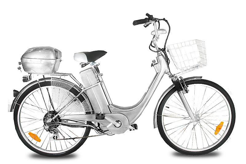 """Elektrokolo City Bike 26"""" stříbrné"""