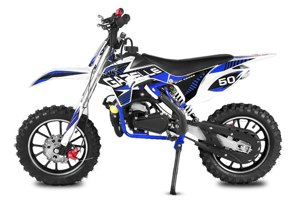 "Minicross Gazelle 10"" modrá mini cross s elektrickým startem"